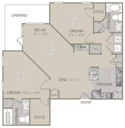 1,279 sq. ft. B5 floor plan