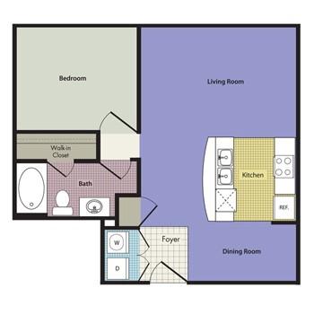 675 sq. ft. to 677 sq. ft. Valentia floor plan