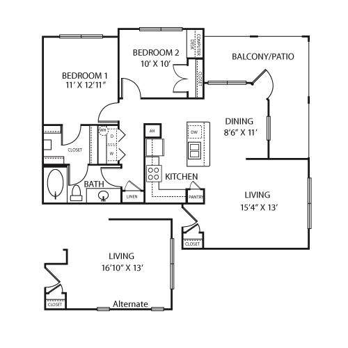 992 sq. ft. B1AS floor plan