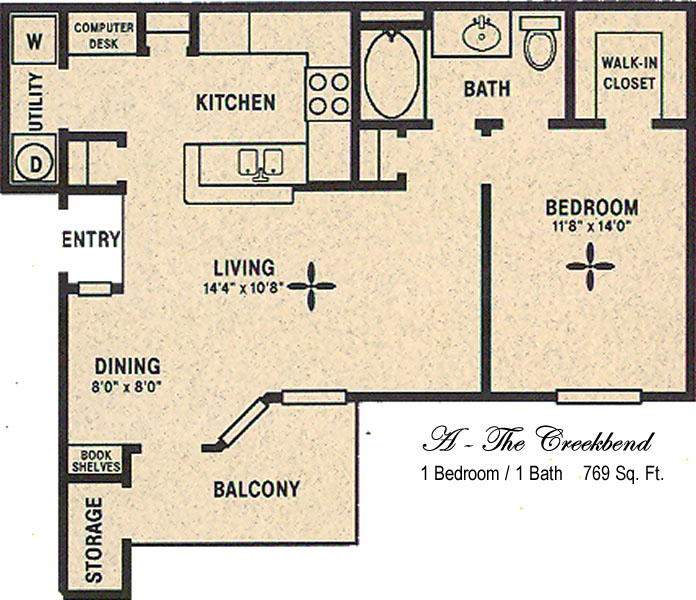 767 sq. ft. A/Creekbend floor plan