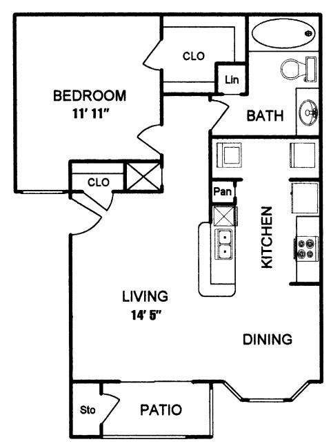 630 sq. ft. to 727 sq. ft. ADDISON I floor plan