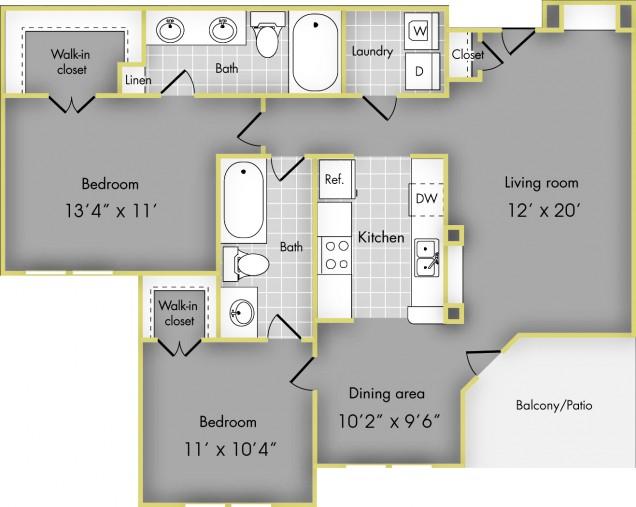 1,046 sq. ft. D floor plan