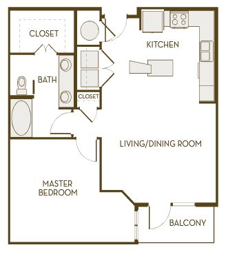 840 sq. ft. A1D floor plan