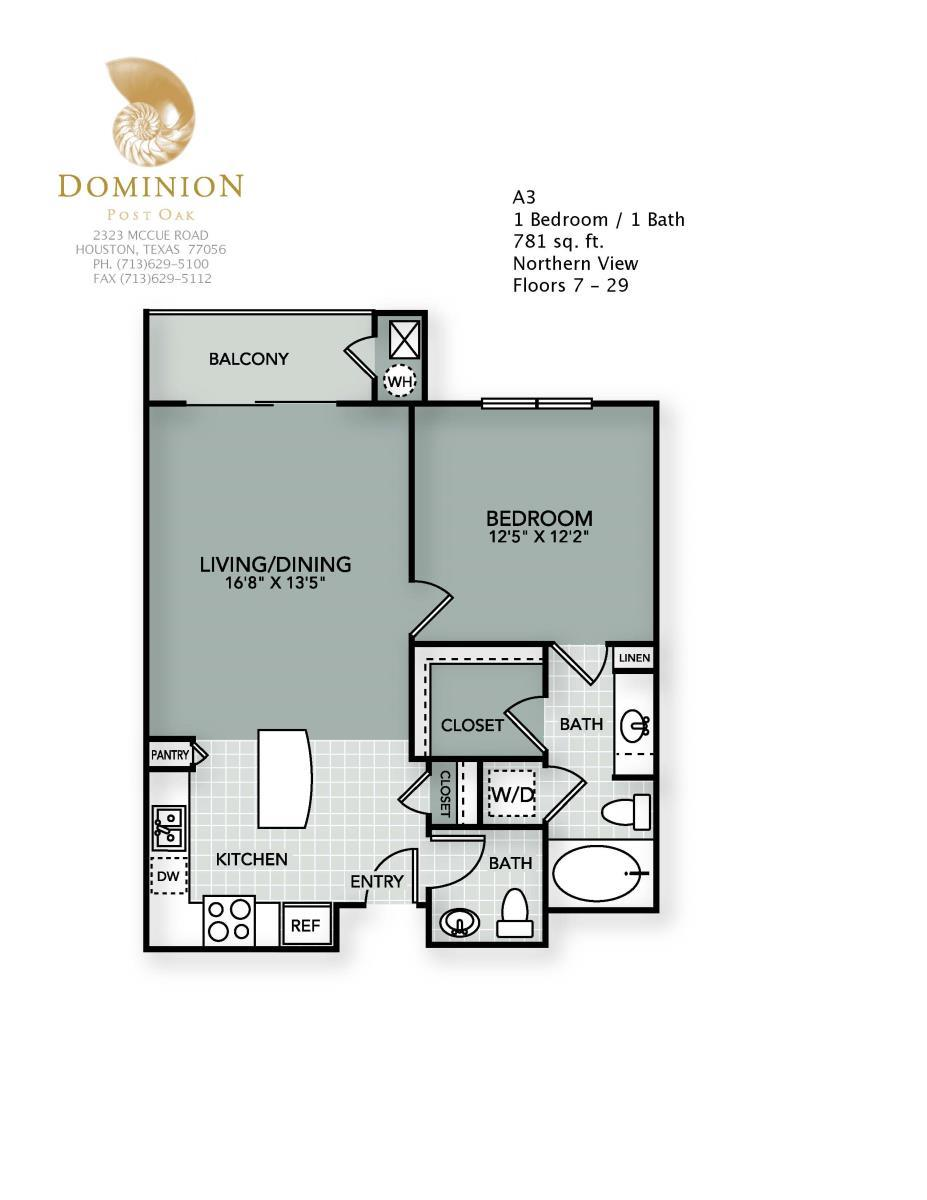 781 sq. ft. A3 floor plan