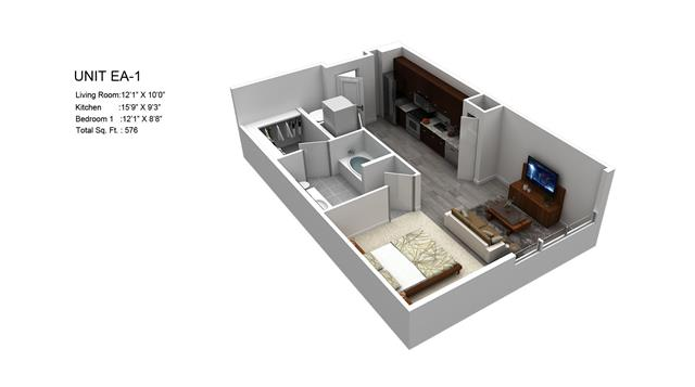 576 sq. ft. Pearl/EA-1 floor plan