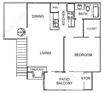 575 sq. ft. A2 floor plan