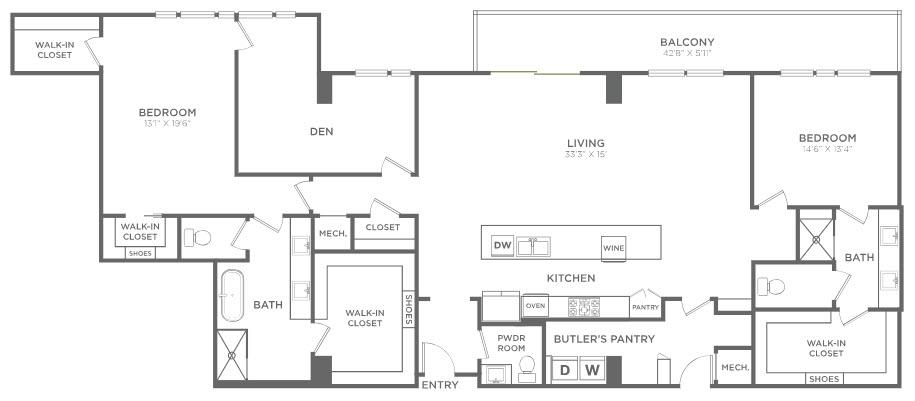 2,645 sq. ft. PH8 floor plan