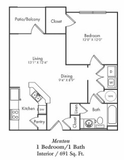 702 sq. ft. E1 floor plan