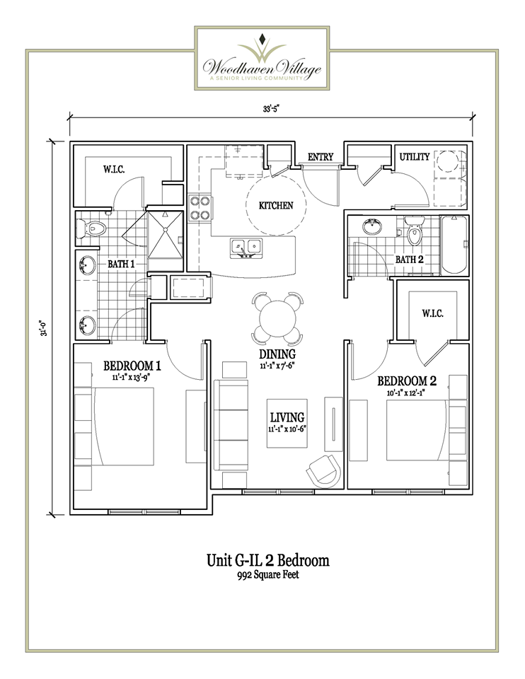 992 sq. ft. floor plan