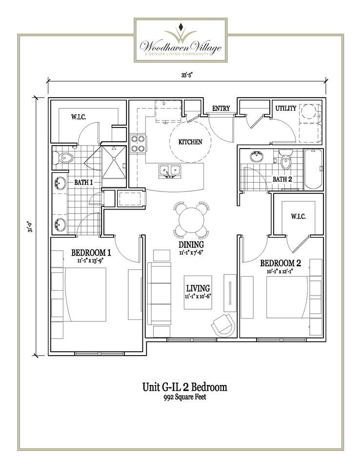 992 sq. ft. floor plan