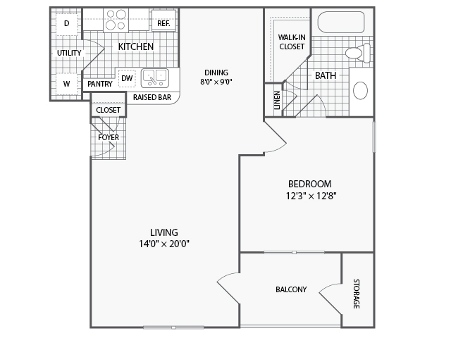 825 sq. ft. A4 floor plan