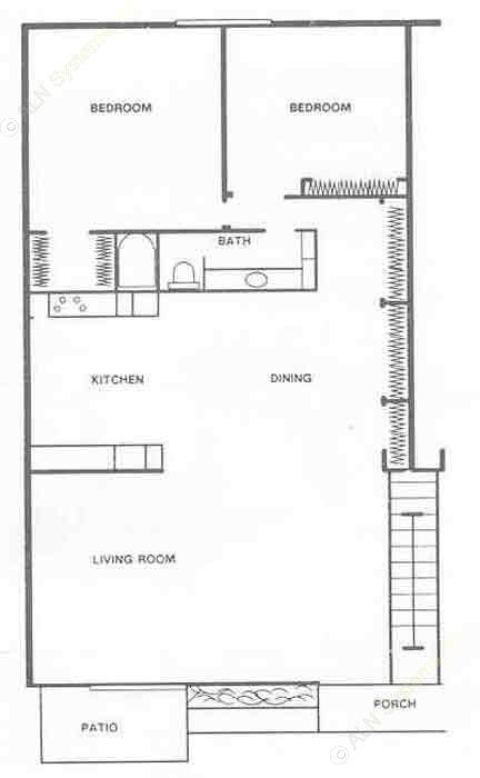 940 sq. ft. B1 floor plan