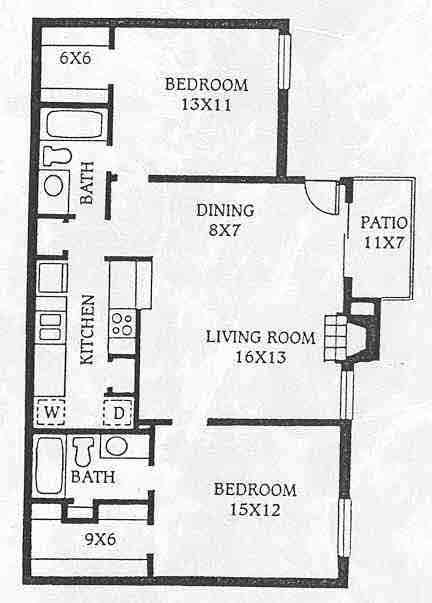 1,067 sq. ft. C1 floor plan