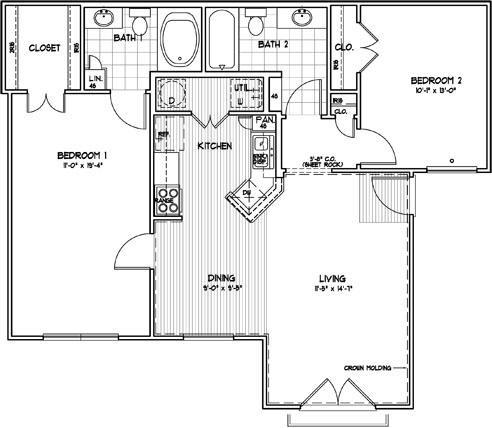 970 sq. ft. CEXT2 floor plan