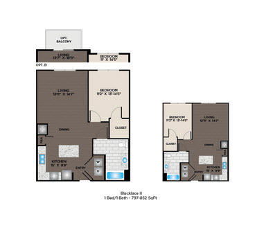 800 sq. ft. Blacklace I floor plan