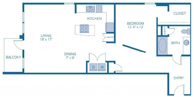 987 sq. ft. to 1,111 sq. ft. E9 floor plan