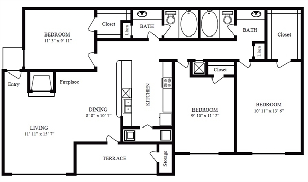 1,154 sq. ft. E/Galveston Beach floor plan