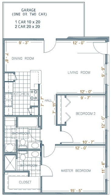 1,000 sq. ft. DEVAN floor plan
