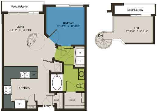 814 sq. ft. A1F-L1 floor plan