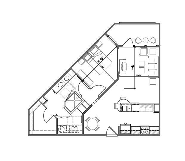 783 sq. ft. A3 floor plan