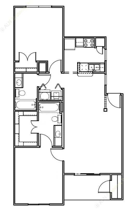 968 sq. ft. Frio/50% floor plan