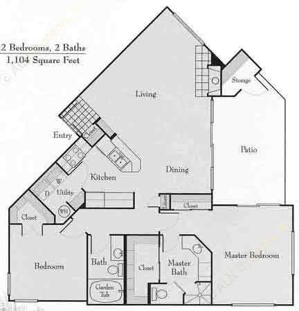 1,104 sq. ft. 2B floor plan