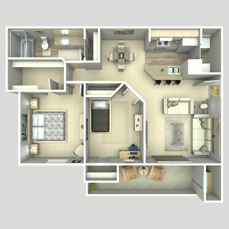 917 sq. ft. B1/B1G floor plan