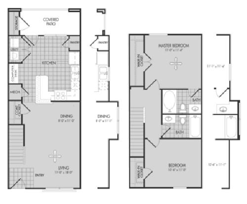 1,035 sq. ft. Cedar/60% floor plan