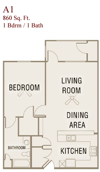 860 sq. ft. A1-50 floor plan