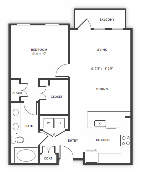 847 sq. ft. to 866 sq. ft. A2 floor plan