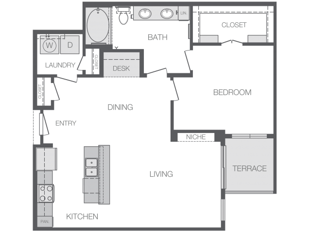 881 sq. ft. to 904 sq. ft. A5 floor plan