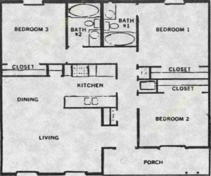 956 sq. ft. 50% floor plan