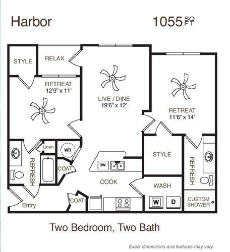 1,055 sq. ft. Harbor floor plan