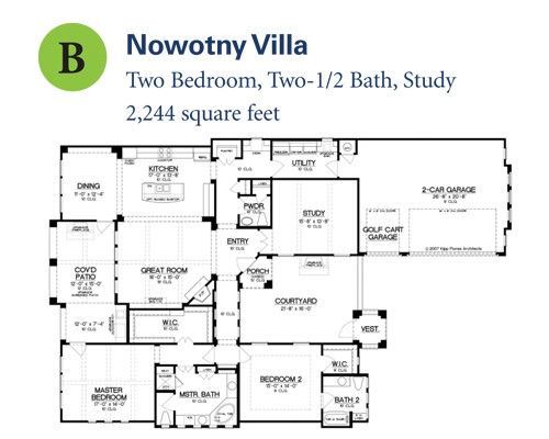 2,244 sq. ft. Nowotny Villa floor plan
