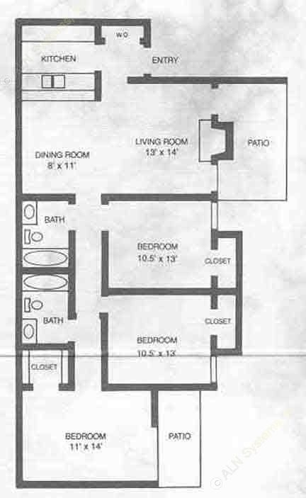 1,115 sq. ft. C1 floor plan
