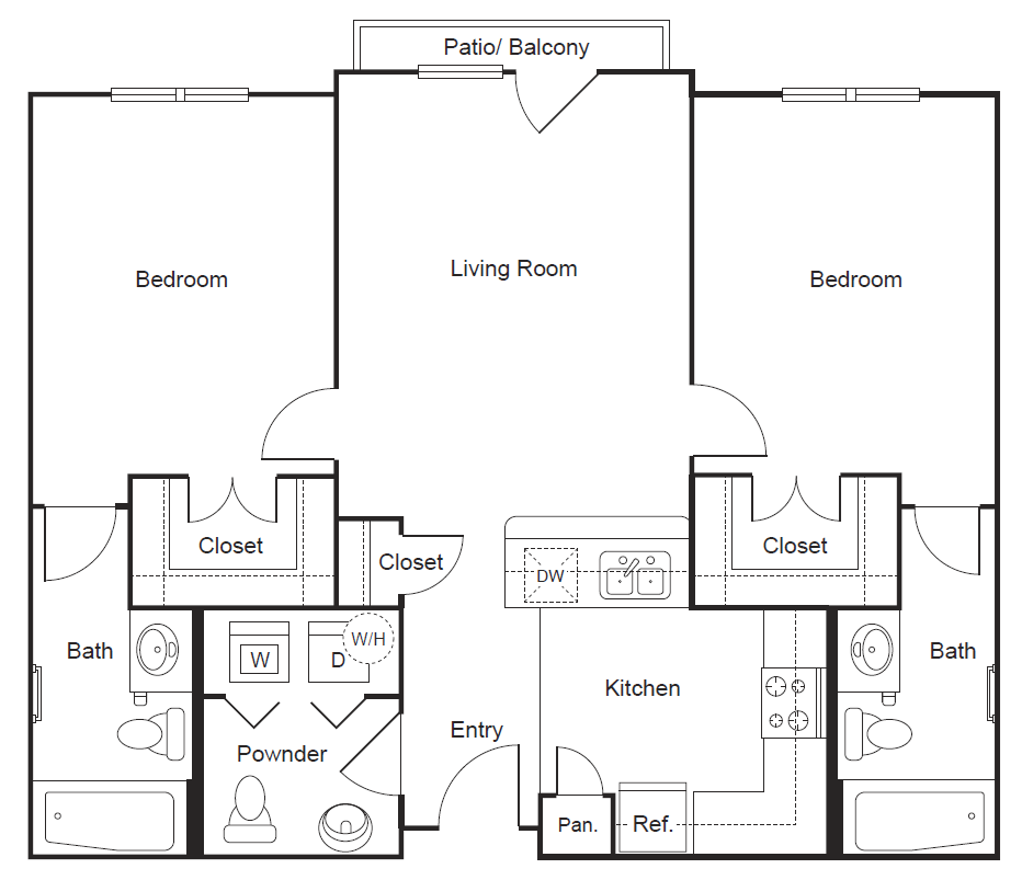 923 sq. ft. B1 floor plan