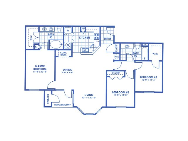 1,300 sq. ft. Burnet floor plan