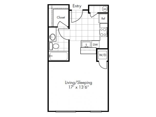 488 sq. ft. to 522 sq. ft. Kirby floor plan