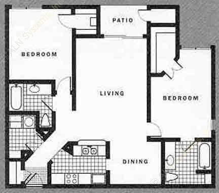 1,069 sq. ft. to 1,141 sq. ft. D1-B1V floor plan