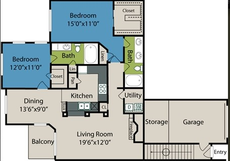 1,337 sq. ft. B6 floor plan