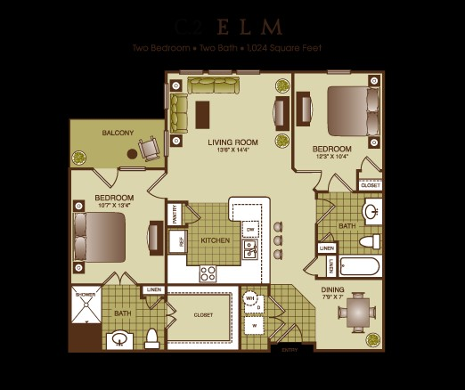 1,024 sq. ft. Elm floor plan