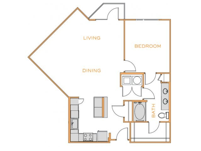 996 sq. ft. D2 floor plan