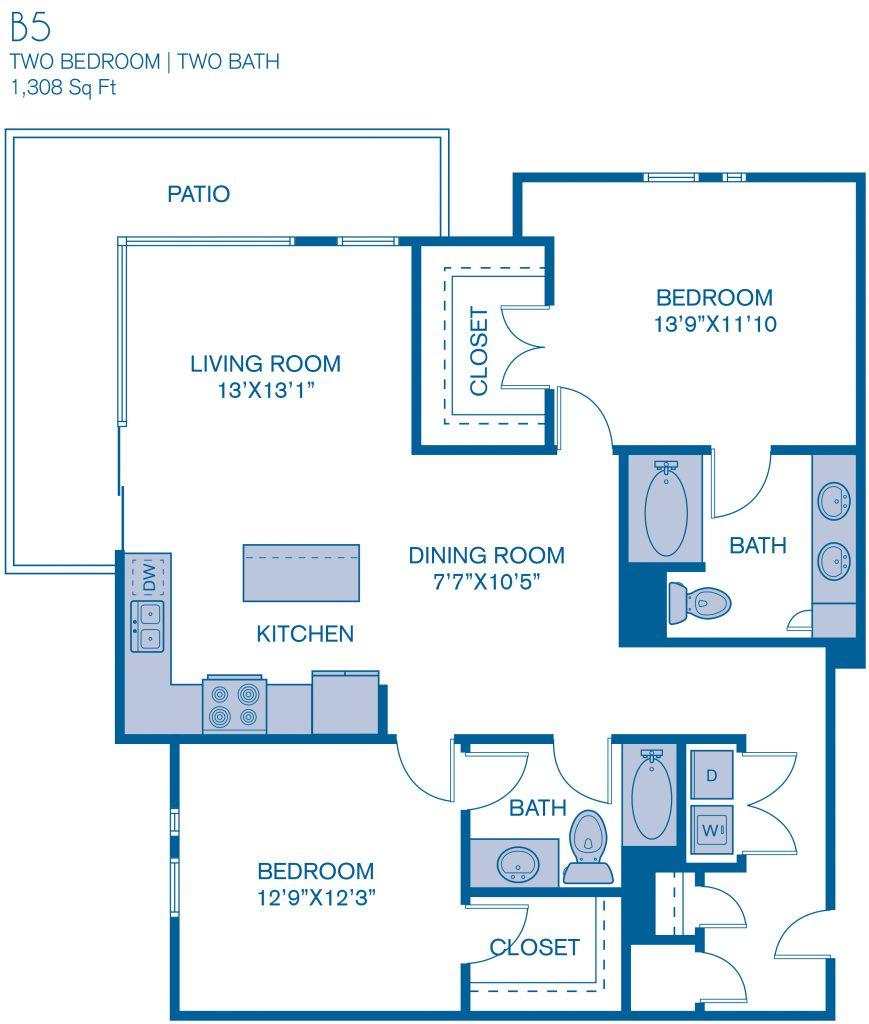 1,308 sq. ft. B5 floor plan