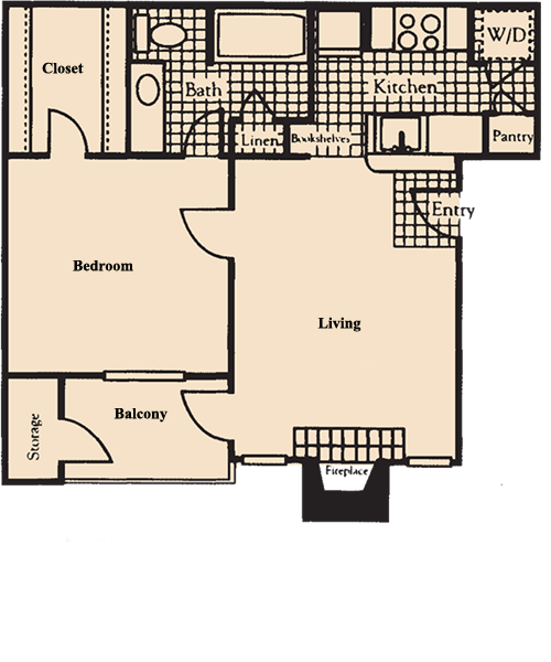652 sq. ft. A5 floor plan