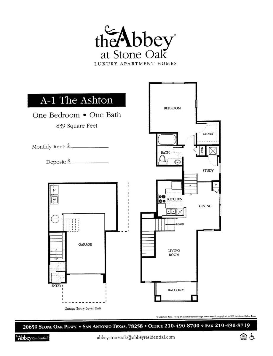839 sq. ft. Ashton floor plan
