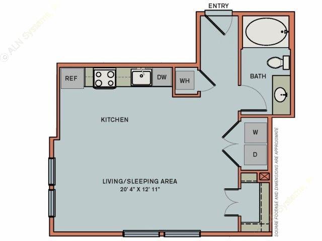 537 sq. ft. 2S1 floor plan