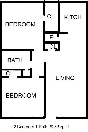 825 sq. ft. 60% floor plan