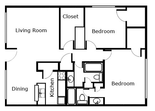 1,082 sq. ft. floor plan