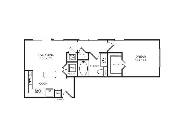 659 sq. ft. McKinney floor plan