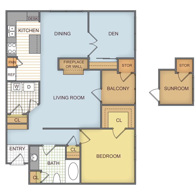 926 sq. ft. Pinegrove floor plan
